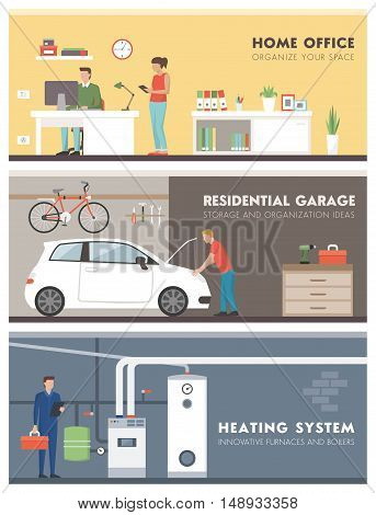 Domestic lifestyle and room interiors banners set with people: office garage and boiler room