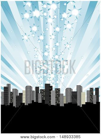 Vector  sky above city - abstract background
