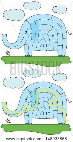 Easy elephant maze for younger kids with a solution