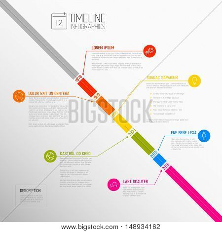 Vector Infographic diagonal timeline report template with the biggest milestones, icons, years and color buttons - diagonal time line version