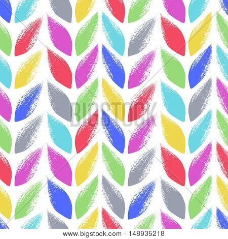 Knitted, tress or wheat ears seamless colorful pattern. Hand drawn paint brush background. Vector illustration.