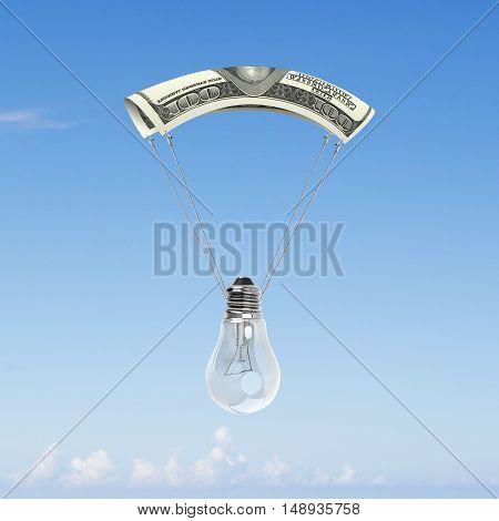 Light Bulb With Money Parachute