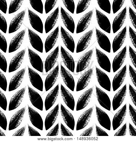Knitted, tress or wheat ears seamless pattern. Hand drawn paint brush background. Vector illustration.