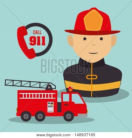 firefighter man cartoon with security equipment. emergency service icon set. vector illustration