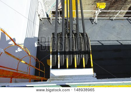 detail of ramp winch in a big ship
