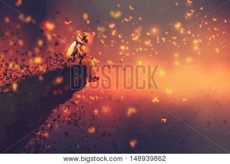 astronaut sitting on cliff's edge and looking to fireflies, illustration painting