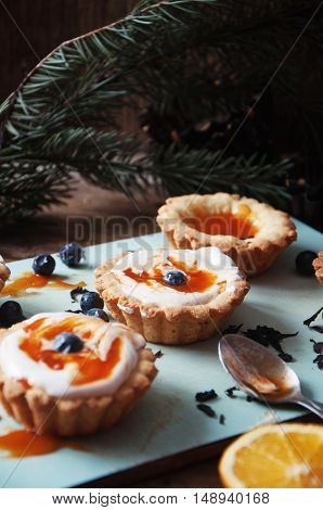 Tart With Lemon Curd And Fresh Blueberry, Top View. Dessert Tart