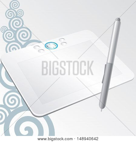 white graphic tablet with a stylus pen to draw on the computer on a gray background with swirls