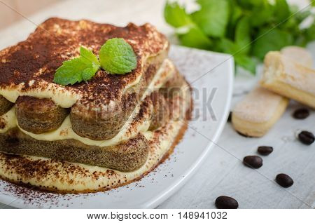 Tiramisu, traditional Italian creme dessert with mint leaves and coffee beans on white wooden background. Tiramisu cake. Homemade tiramisu dessert close-up. Italian cuisine concept. Selective focus.
