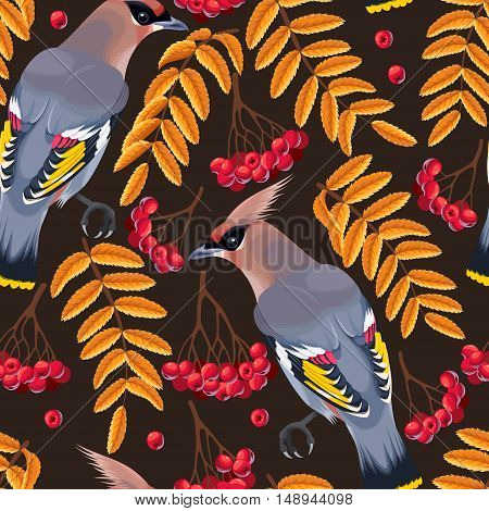 Waxwing and rowan berries and leaves vector seamless background