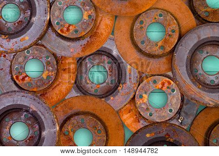 Conceptual Image Of Overlaid Rusty Brake Rotors
