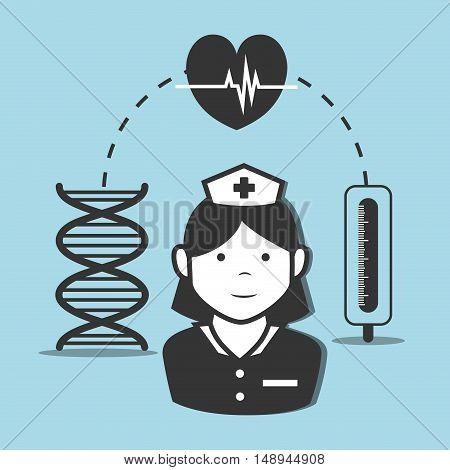 avatar woman nurse medical assitance with medicine icon set. vector illustration
