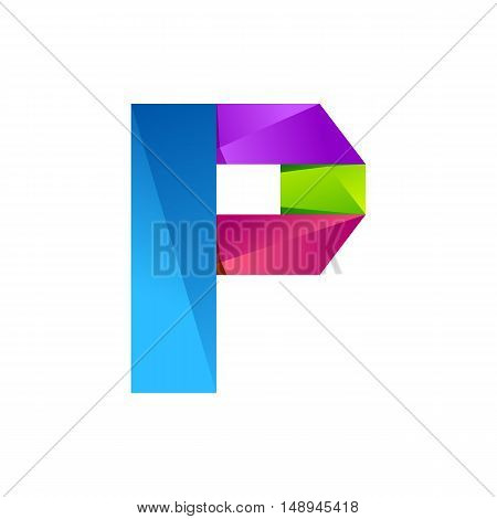 P letter one line colorful logo. Vector design template elements an icon for your application or company