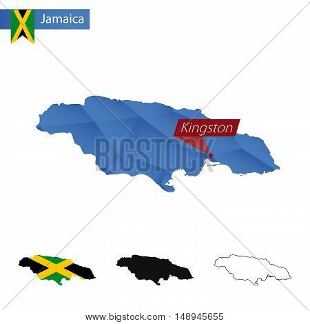 Jamaica Blue Low Poly Map With Capital Kingston.