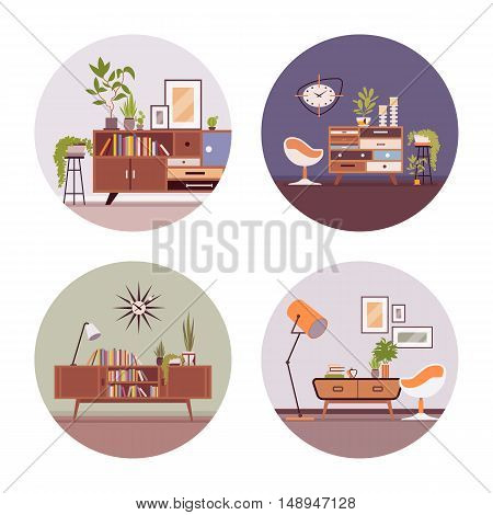 Se of retro interiors with a sideboard bookcase , ball chair, wallcloks, plants in a circle. Cartoon vector flat-style illustration