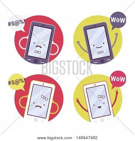 Set of smiling, broken girl and boy smartphones. Cartoon vector flat-style concept illustration