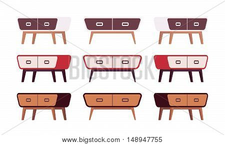 Set of retro sideboards isolated against white background. Cartoon vector flat-style illustration
