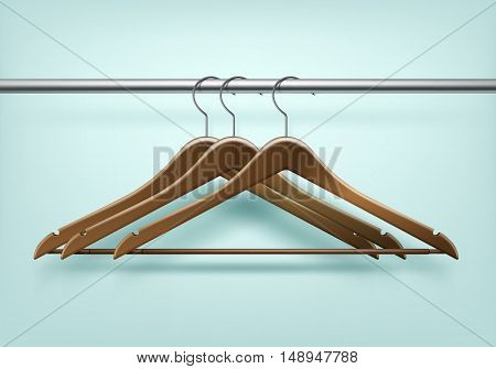 Vector Clothes Coat Brown Wooden Hangers Close Up Isolated on Background