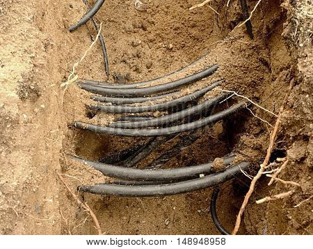 Lines Of Metallic And Fiber Optic Cables, Construction Of Communication Optical Network Connection