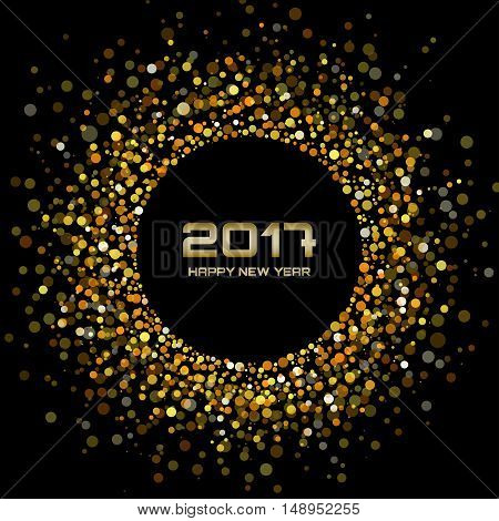 Gold Bright New Year 2017 on black Background.  Glowing confetti circle new year frame. Golden shining circle background. Vector illustration
