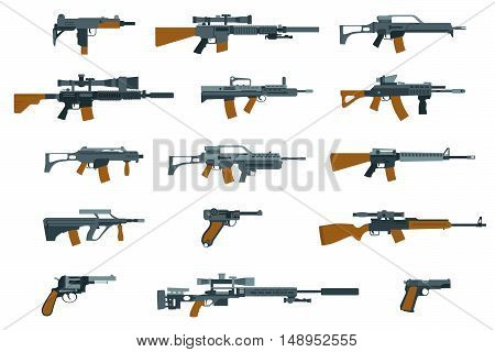 Weapons flat icons. Gun and rifle, shotgun and machine gun. Vector illustration