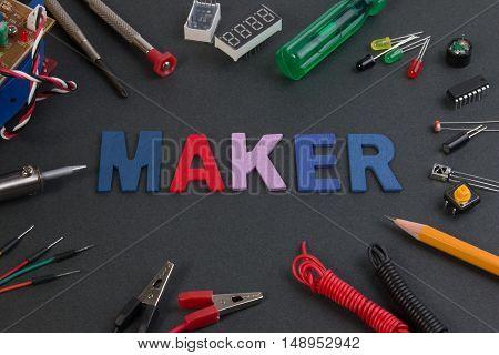 Particle Maker Kit, Electronics Project Maker Kit, Circuits Kits On Black Table.