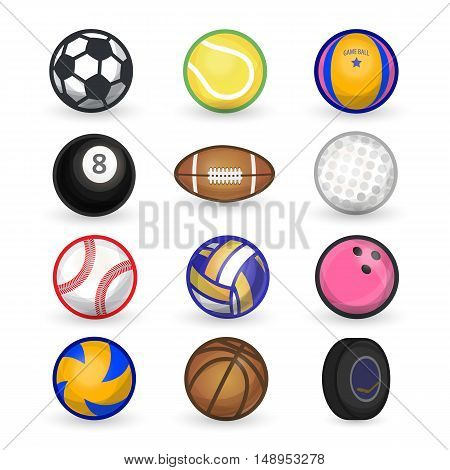 Vector set of sport balls: soccer, bowling, tennis, baseball, american football, golf, basketball, volleyball, hockey puck, rugby, bowling. Flat icons. Elements isolated on white background