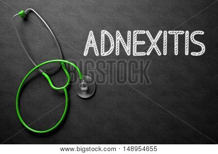 Medical Concept: Adnexitis - Text on Black Chalkboard with Green Stethoscope. Medical Concept: Top View of Green Stethoscope on Black Chalkboard with Medical Concept - Adnexitis. 3D Rendering.