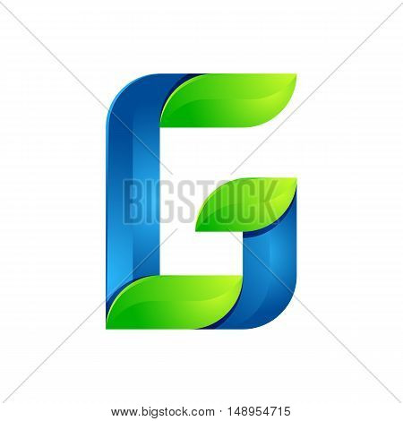 G letter leaves eco logo volume icon. Vector design green and blue template elements an icon for your ecology application or company.