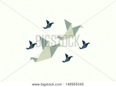 Six paper bird vintage style.triangle six bird.