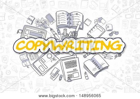 Yellow Word - Copywriting. Business Concept with Cartoon Icons. Copywriting - Hand Drawn Illustration for Web Banners and Printed Materials.