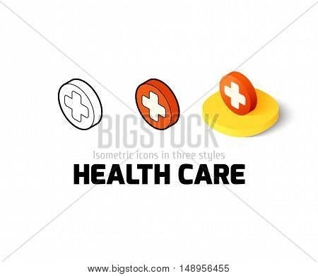 Heath care icon, vector symbol in flat, outline and isometric style