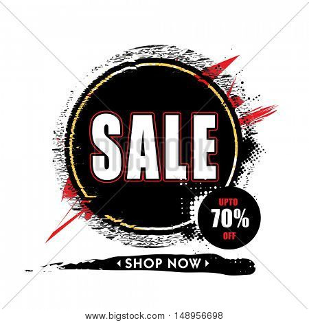 Stylish Sale Poster, Banner, Flyer or Pamphlet with 70% Discount Offer, Can be used as Sticker, Tag or Label design.
