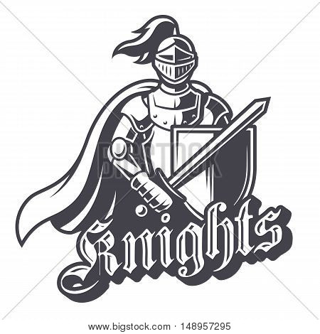 Monochrome knight sport logo on white background. Perfect for sport team mascot.