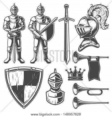 Set of vintage monochrome elements for logo, labels, badges and emblems design. On white background.