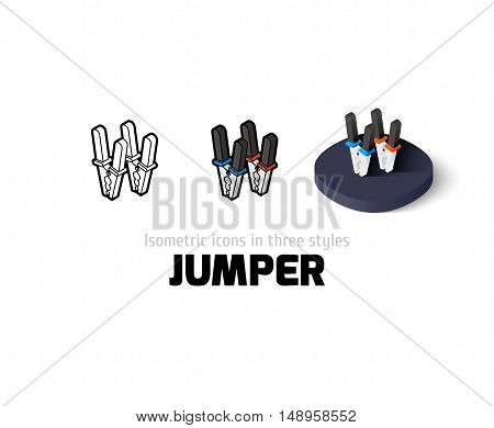 Jumper icon, vector symbol in flat, outline and isometric style