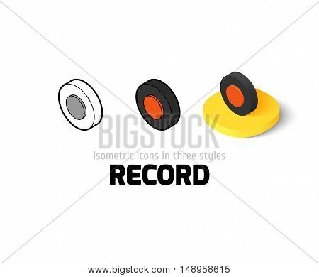 Record icon, vector symbol in flat, outline and isometric style