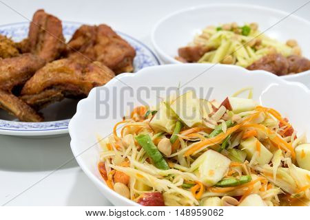 Papaya salad (Som tum), Fried chicken, Spicy Pork