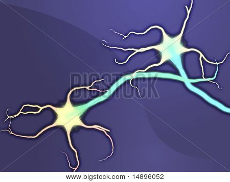 Illustration of neuron nerve cells abstract graphic render