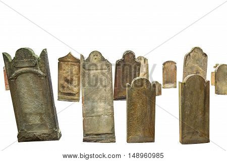 group of cemetery graves isolated on white background with copyspace
