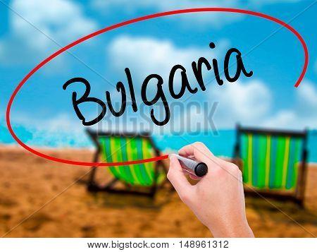 Man Hand Writing Bulgaria With Black Marker On Visual Screen
