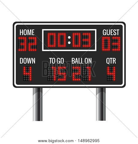 American football vector scoreboard. Sport football, scoreboard american game, scoreboard time, guest and home scoreboard illustration