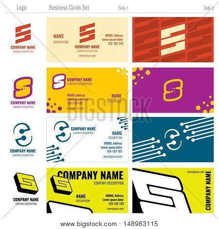 Business vector card templates with S logo. Business card template, s font logo business card, label business card illustration