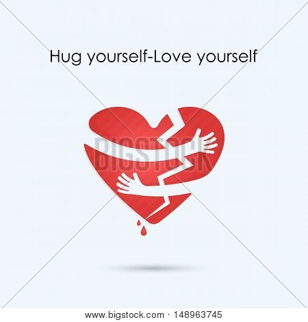 Broken heart icon.Hug yourself or Love yourself logo.Love and Heart Care logo.Heart shape and healthcare & medical concept.Vector illustration