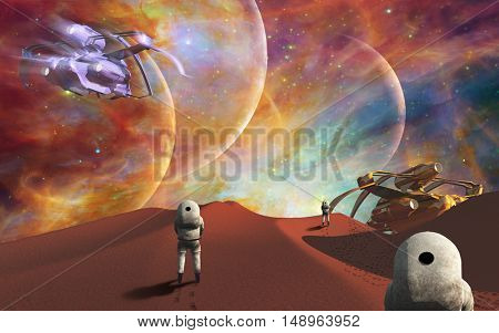 Astronauts on another planet  3D Render  Some elements provided courtesy of NASA
