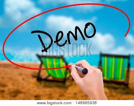 Man Hand Writing Demo  With Black Marker On Visual Screen