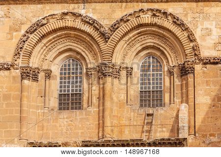 Holy Sepulchre Cathedral windows in Jerusalem Israel