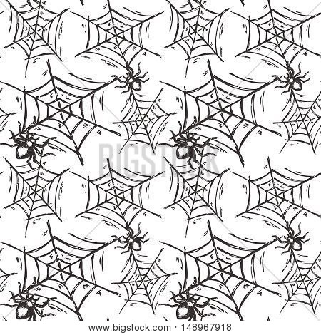 Halloween seamless pattern with hand drawn spiders on web in sketch style. Endless vector background