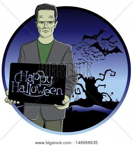 Cartoon Frankenstein vector.