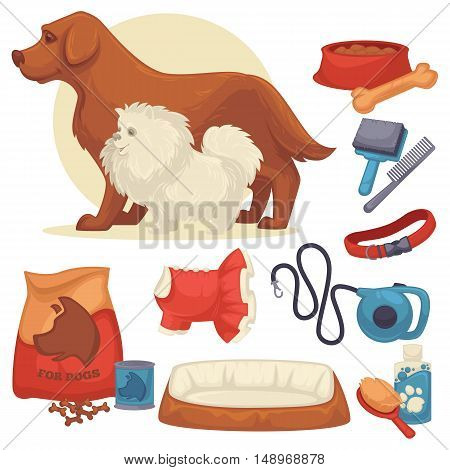 Set of accessories for dogs. Collection of pet symbol. domestic animal icons: bowl, bone, canine food, leash and grooming accessories. Cartoon style. Vector illustration isolated on white